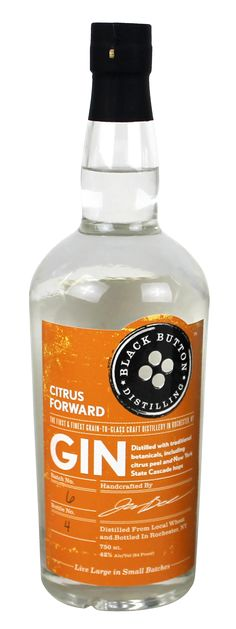 """Black Button Citrus Forward gin. 42% ABV. Contemporary. Jason Barrett has always found Gin to be an acquired taste. That is why he has given this spirit a new twist for gin lovers and an excellent starting point for the more inexperienced gin drinkers. The blend of bitter orange peel, sweet orange peel, and New York State Cascade hops molds well with the delicate notes of juniper berry. The unique blend of botanicals leaves you with a long lingering """"citrus forward"""" taste at the end."""