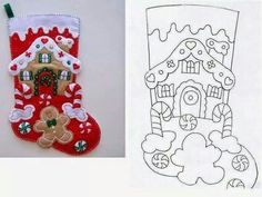 Les Petites: ideas and more ideas Felt Christmas Stockings, Christmas Stocking Pattern, Felt Christmas Decorations, Felt Christmas Ornaments, Christmas Sewing, Christmas Art, Christmas Projects, Handmade Christmas, Felt Stocking