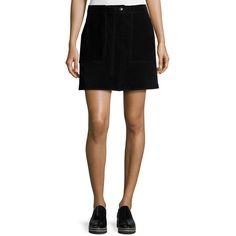 rag & bone/JEAN Denny Suede Mini Skirt ($635) ❤ liked on Polyvore featuring skirts, mini skirts, black, a line skirt, suede a line skirt, high waisted a line skirt, button front skirt and short mini skirts