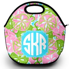 Never brown bag itagain with this colorful and stylish monogrammed lunch tote! Made of neoprene material, it features a zippered top with a carrying handle