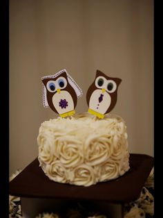 i made these for my wedding! Homemade owl cake toppers