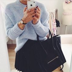 knit sweater + celine handbag