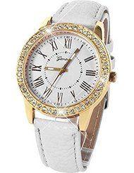 Baishitop Women Golden Bling Crystal Luxury Quartz Wrist Watch White PU Leather Band by Baishitop $3.45+ $1.00 shipping Show only Baishitop items