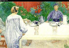 "Carl Larsson ""Vid frukostbordet"" (1913). Ur Iduns Carl Larsson-nummer 1913. Akvarell."