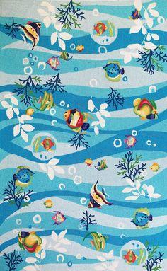 KAS Oriental Sonesta Tropical Fish Blue (2011) Area Rugs