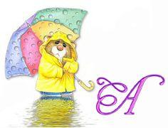 Alfabeto de ratoncito bajo la lluvia.