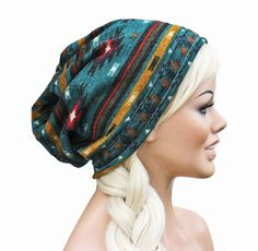 Native Tribal Southwest Inspired- Slouch Beanie Ultimate Slacker Sewn STRETCH KNIT by GlamourDamaged, $20.00 @Libbie Rumsey