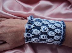 Beaded lace denim cuff bracelet with little pearls and seed beads by LucianaDesigns via Etsy