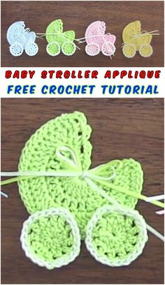 Baby Stroller Crochet Applique - 10 minutes only you need to make this amazing applique, the understandable tutorial will direct you to this project. Choose the colors and size. #crochet #crochetapplique