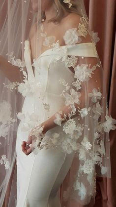 ATHENA long wedding veil with flowers 2