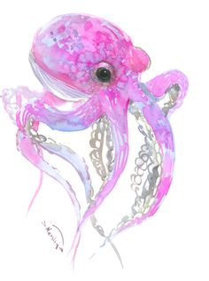 Sky Blue PINK OCTOPUS, original one of a kind watercolor art 12 x 9 in pink wall art, ocotpus animals, octopus lover gift pink by ORIGINALONLY on Etsy