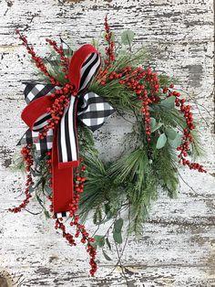 Door Decor Traiditional Wreath Cherful Wreath Redbird Wreath Evergreen Wreath Front DoorWreath Christmas Door Wreath Christmas Wreath