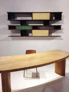 Galerie Downtown's exhibit at Design Miami featuring Jean Prouvé, Charlotte Periand, and Serge Mouille.