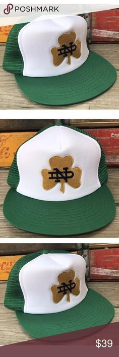 Vintage NOTRE DAME 80s Mesh Snapback Trucker Hat Condition:  NEW Deadstock item w/out Tags (see photos).  Purchased from estate of Advertising Sales Rep. in Winston-Salem, NC. Stored in sealed box in 100% smoke free home office for several years (see photos). Photos accurately represent the condition of the item so please review all photos thoroughly. Springfoot Accessories Hats