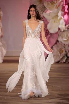 Flowy embroidered wedding dress.