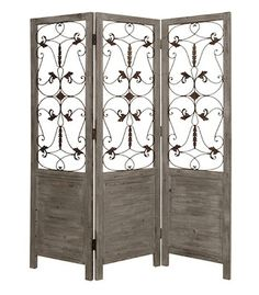 Screen Gems Grey Hampton Room Divider - x in. - Upscale yet casual design that's perfect in your home. The Screen Gems Grey Hampton Room Divider - x in. creates a cozy space without bloc. Metal Room Divider, Room Divider Screen, Decorative Room Dividers, Folding Room Dividers, Wall Dividers, Space Dividers, Fancy Mirrors, Wood Screen Door, Screen Doors