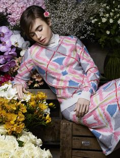 Lily Collins poses again for Karl Lagerfeld for Barrie - Yahoo News