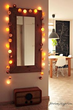 hallway, cotton ball lights, old radio, big mirror, home decor Cable And Cotton Lights, Cotton Ball Lights, Xmas Lights, Fairy Lights, Diy Room Decor For Teens, String Lights In The Bedroom, Old Mirrors, Ball Decorations, Living Room Mirrors