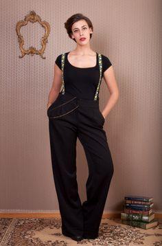 Black Trousers with floral suspenders loose by LeMoutonBleuShop, €90.00