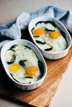mozzarella baked eggs with zucchini // brooklyn supper