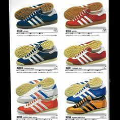 Cracking photo of a page from an adidas Japanese market brochure featuring Athen, Napoli, Torino and Hurricane
