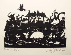 Noah's Noisy  Ark. Cut paper silhouette by Tim Arnold