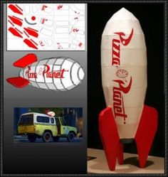 Toy Story - Pizza Planet Rocket free papercraft download