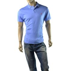 Polo Ralph Lauren Polo Shirt Mens Sueded Cotton Custom Fit Size L NEW Blue #PoloRalphLauren #PoloRugby