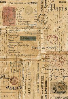 Card Ideas Discover Printable Ephemera Parisian Script Signage Vintage Stamps & Correspondance - ATC Digital Collage Sheet for Papercraft- pdf - jpg - png Papel Vintage, Vintage Stamps, Vintage Ephemera, Vintage Paper, Vintage Clip Art, Vintage Scrapbook, Vintage Images, Vintage Prints, Foto Transfer