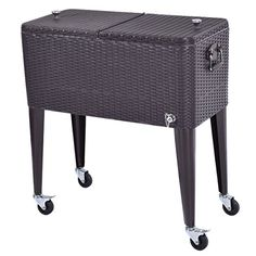 80 QT Contemporary Modern Elegant Outdoor Brown Rattan Portable Cooler Beverage Cart For Parties And Entertaining Holds Ice and Drinks -- More info could be found at the image url.