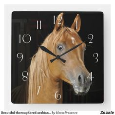 Beautiful thoroughbred arabian in stall square wall clock Thoroughbred, Diy Face Mask, Hand Coloring, Dog Design, Funny Cute, Dog Cat, Kids Shop, Horses, Wall Clocks