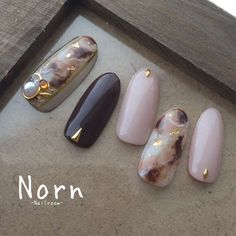 Nailroom Norn _ryokoさんの秋カラー マーブル ミドルのネイル