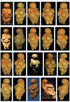 Venus of Willendorf from multiple views. Ancient Goddesses, Gods And Goddesses, Mother Goddess, Ancient Artifacts, Diy Arts And Crafts, Book Of Shadows, Deities, Archaeology, Sculpture Art