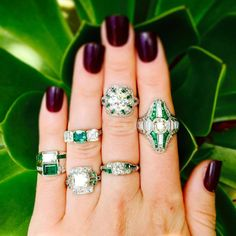 Wedding Wednesday at #CraigEvanSmall! Sharing some #emerald envy with these insanely gorgeous #antique #diamond #rings with emerald accents! Can you spot the 2 #TiffanyandCo rings? #vintagejewelry #vintagering #engagementrings #bride