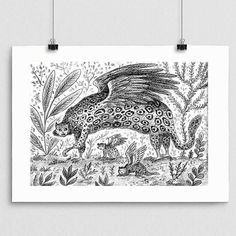 A monochrome print of a drawing inspired by the amazing animals on Planet Earth 2. This is a Leopard Eagle hybrid with her young. Available in A sizes so you can frame in any off the shelf frames  link to shop in profile.