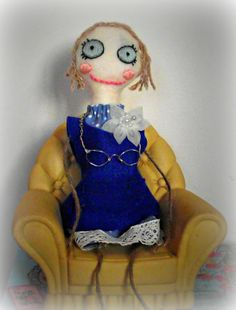 OOAK Art doll, made with felt and fabric with a hand embroidered face, part filled with lavender - custom made doll.