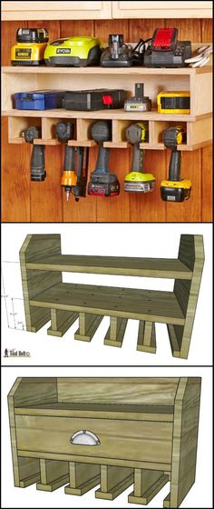 DIY Cordless Drill Storage And Charging Station diyprojects. This wall-mounted cordless drill storage will help keep the entire workshop looking clean and organized. It also serves as the char (Diy Furniture Storage) Woodworking Projects Diy, Woodworking Plans, Woodworking Furniture, Popular Woodworking, Woodworking Shop, Woodworking Classes, Woodworking Workshop, Woodworking Basics, Garage Workshop