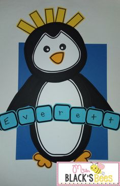 Penguin Craft with Name Practice