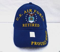 bc68dea29e7 US AIR FORCE RETIRED PROUDLY SERVED Military Veteran SOFT TWILL BALL CAP  403 EE  BaseballCap
