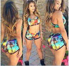 Coconut Tree Printing Swimsuit Bikini