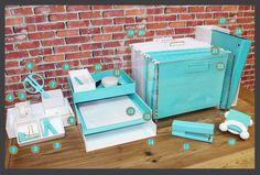Office decor.  Modern and bright turquoise, white, and clear acrylic desk accessories balance out the industrial look of the desk and brick wall.