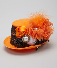 Another great find on #zulily! Orange Vintage Top Hat Clip #zulilyfinds