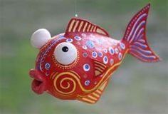 Beautiful handmade and hand-painted papier mache fish. The size is about inches long, by inches high. It is hollow, light weight paper mache. Paper Mache Projects, Paper Mache Clay, Paper Mache Sculpture, Paper Mache Crafts, Art Projects, Art For Kids, Crafts For Kids, Arts And Crafts, Diy Crafts