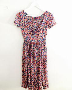 1960s bluered rose rose dress#fab.#vintage #vintagefashion #vintageclothing #vintagedress #1960s #1960sfashion #1960sdress #ヴィンテージ #ヴィンテージファッション #レディース古着 #ヨーロッパ古着
