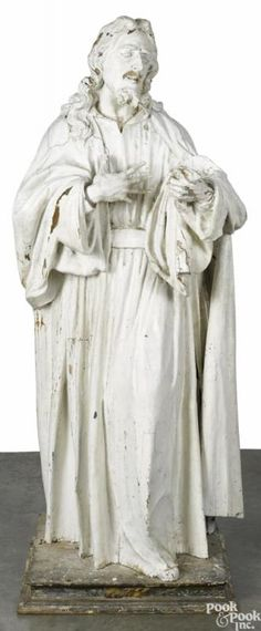 """Italian carved and painted Jesus statue, 18th c, 71 1/2"""" h. - Price Estimate: $5000 - $8000"""
