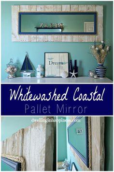 pallets wall decor mirror whitewashed, diy, home decor, pallet, repurposing…