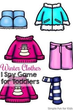 This super simple I spy game is perfect for introducing toddlers to counting to one to one correspondence, visual discrimination, and more: Winter Clothes I Spy Game for Toddlers! (Day 21 of the 24 Days of Christmas Printables for Toddlers.