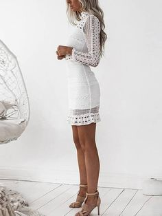 White Lace Cut Out Design High Neck Long Sleeves Dress - US$39.95 -YOINS