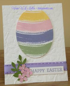Easter card made with Stampin Up's Work of Art stamp set.  Flowers made with flower punch from Itty Bitty Accents punch pak.