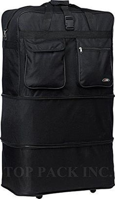 ad74ab5862b7 36 Rolling Wheeled Duffle Bag Spinner Suitcase Luggage Expandable 36 Inch  Black     You